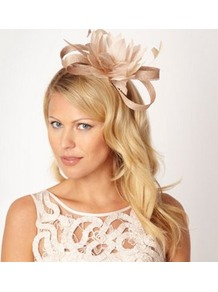 Designer Light Gold Looped Feather Headband - predominant colour: gold; occasions: occasion; style: fascinator; size: standard; material: sinamay; embellishment: feather; pattern: plain