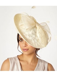 Cream Lace Saucer Headband - predominant colour: ivory; occasions: evening, occasion; type of pattern: light; style: fascinator; size: large; material: sinamay; embellishment: bow; pattern: patterned/print