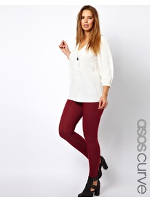 Curve Legging In Denim Look - length: standard; pattern: plain; style: leggings; waist: mid/regular rise; predominant colour: burgundy; occasions: casual, evening; fibres: cotton - mix; texture group: denim; fit: skinny/tight leg; pattern type: fabric; pattern size: standard