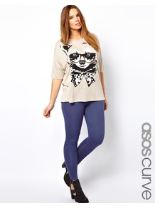 Curve Legging In Denim Look - length: standard; pattern: plain; style: leggings; waist detail: elasticated waist; waist: mid/regular rise; predominant colour: indigo; occasions: casual, holiday; fibres: cotton - mix; texture group: denim; fit: skinny/tight leg; pattern type: fabric; pattern size: standard