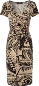 Moda Jersey Print Dress Multi - style: shift; neckline: low v-neck; fit: tight; waist detail: fitted waist; hip detail: fitted at hip; predominant colour: stone; occasions: casual, evening; length: on the knee; fibres: viscose/rayon - stretch; sleeve length: short sleeve; sleeve style: standard; trends: statement prints; pattern type: fabric; pattern size: big &amp; busy; pattern: patterned/print; texture group: jersey - stretchy/drapey