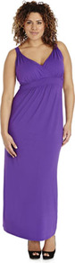 True Jersey Maxi Dress - style: empire line; neckline: low v-neck; sleeve style: standard vest straps/shoulder straps; fit: empire; pattern: plain; length: ankle length; predominant colour: purple; occasions: casual, evening, occasion, holiday; fibres: viscose/rayon - stretch; sleeve length: sleeveless; pattern type: fabric; pattern size: standard; texture group: jersey - stretchy/drapey