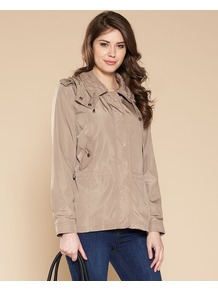 Preena Short Parka - pattern: plain; length: below the bottom; collar: round collar/collarless; style: parka; predominant colour: camel; occasions: casual; fit: straight cut (boxy); fibres: polyester/polyamide - 100%; sleeve length: long sleeve; sleeve style: standard; texture group: cotton feel fabrics; collar break: high; pattern type: fabric