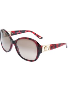 4241 B Sunglasses - predominant colour: burgundy; occasions: casual, holiday; style: round; size: large; material: plastic/rubber; embellishment: crystals; pattern: animal print; finish: plain