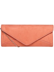 Coral Envelope Clutch Bag - predominant colour: coral; occasions: evening, occasion; type of pattern: standard; style: clutch; length: hand carry; size: small; material: faux leather; pattern: plain; trends: fluorescent; finish: plain; embellishment: chain/metal