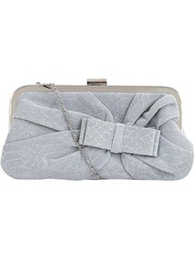 Dp Occasion Silver Glitter Bow Bag - predominant colour: silver; occasions: evening, occasion; type of pattern: light; style: clutch; length: hand carry; size: small; material: fabric; embellishment: glitter; trends: metallics; finish: metallic; pattern: patterned/print