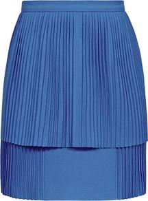 Kashma Pleated Double Layer Skirt - length: mid thigh; pattern: plain; fit: tailored/fitted; style: pleated; waist: mid/regular rise; predominant colour: royal blue; occasions: casual, evening, work, occasion; fibres: polyester/polyamide - mix; hip detail: soft pleats at hip/draping at hip/flared at hip; pattern type: fabric; pattern size: standard; texture group: jersey - stretchy/drapey