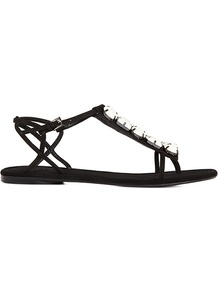 Tula Embellished Flat Sandal - predominant colour: black; occasions: casual, evening, holiday; material: leather; heel height: flat; embellishment: crystals, jewels; ankle detail: ankle strap; heel: standard; toe: open toe/peeptoe; style: flip flops / toe post; finish: plain; pattern: plain