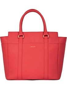 Bronte Zipper Tote Bag - predominant colour: coral; occasions: casual, evening, work; type of pattern: standard; style: tote; length: handle; size: standard; material: leather; pattern: plain; finish: plain