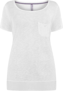 White Woven Hem Top - neckline: round neck; pattern: plain; length: below the bottom; style: t-shirt; bust detail: pocket detail at bust; predominant colour: white; occasions: casual, holiday; fibres: polyester/polyamide - 100%; fit: body skimming; sleeve length: short sleeve; sleeve style: standard; pattern type: fabric; pattern size: standard; texture group: jersey - stretchy/drapey