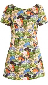 Novella Tropical Print Dress - style: shift; length: mini; neckline: round neck; waist detail: fitted waist; back detail: low cut/open back; occasions: casual, holiday; fit: soft a-line; fibres: cotton - 100%; predominant colour: multicoloured; sleeve length: short sleeve; sleeve style: standard; trends: statement prints; pattern type: fabric; pattern size: big & busy; texture group: jersey - stretchy/drapey
