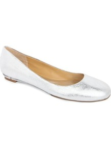 Guzzler Metallic Leather Pumps - predominant colour: silver; occasions: casual, evening, work, occasion; material: leather; heel height: flat; toe: round toe; style: ballerinas / pumps; trends: metallics; finish: metallic; pattern: plain