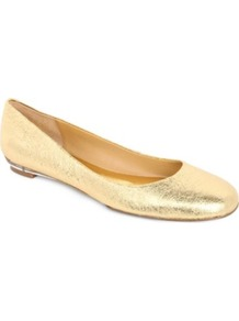 Guzzler Metallic Leather Pumps - predominant colour: gold; occasions: casual, evening, work, occasion; material: leather; heel height: flat; toe: round toe; style: ballerinas / pumps; trends: metallics; finish: metallic; pattern: plain