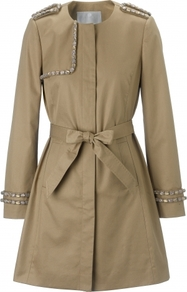 Colette Coat - shoulder detail: obvious epaulette; collar: round collar/collarless; style: mac; length: mid thigh; predominant colour: camel; occasions: casual, work, occasion; fit: tailored/fitted; fibres: cotton - 100%; waist detail: belted waist/tie at waist/drawstring; sleeve length: long sleeve; sleeve style: standard; texture group: cotton feel fabrics; collar break: high; pattern type: fabric; pattern size: small & light; pattern: patterned/print; embellishment: beading