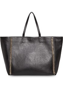 Chains Shopper Bag - predominant colour: black; occasions: casual; style: tote; length: handle; size: oversized; material: faux leather; pattern: plain; finish: plain; embellishment: chain/metal