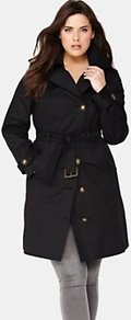 Biker Trench Coat, Black - pattern: plain; style: single breasted; collar: standard lapel/rever collar; length: mid thigh; predominant colour: black; occasions: casual, evening, work; fit: tailored/fitted; fibres: cotton - stretch; waist detail: belted waist/tie at waist/drawstring; sleeve length: long sleeve; sleeve style: standard; collar break: high; pattern type: fabric; pattern size: standard; texture group: jersey - stretchy/drapey