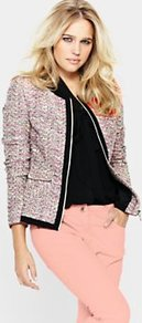 Collarless Tweed Jacket, White - collar: round collar/collarless; style: boxy; pattern: herringbone/tweed; occasions: casual, evening, work, occasion; length: standard; fit: straight cut (boxy); fibres: cotton - mix; predominant colour: multicoloured; sleeve length: long sleeve; sleeve style: standard; collar break: low/open; pattern type: fabric; pattern size: standard; texture group: tweed - light/midweight