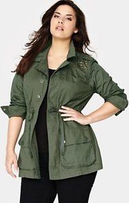 Studded Military Jacket, Khaki - pattern: plain; style: double breasted military jacket; length: below the bottom; hip detail: front pockets at hip; collar: standard lapel/rever collar; predominant colour: khaki; occasions: casual, work; fit: straight cut (boxy); fibres: cotton - 100%; waist detail: belted waist/tie at waist/drawstring; shoulder detail: added shoulder detail; sleeve length: long sleeve; sleeve style: standard; collar break: medium; pattern type: fabric; pattern size: small & light; texture group: woven light midweight; embellishment: studs