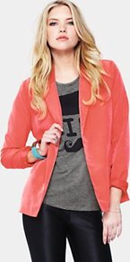 Blazer, Black - pattern: plain; style: single breasted blazer; collar: standard lapel/rever collar; predominant colour: coral; occasions: casual, evening, work; length: standard; fit: straight cut (boxy); fibres: polyester/polyamide - 100%; sleeve length: long sleeve; sleeve style: standard; collar break: medium; pattern type: fabric; pattern size: standard; texture group: woven light midweight