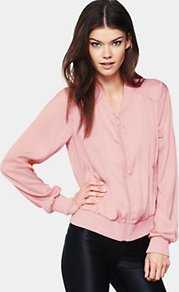 Lightweight Coloured Bomber Jacket, Pink - pattern: plain; style: bomber; predominant colour: blush; occasions: casual; length: standard; fit: straight cut (boxy); fibres: polyester/polyamide - 100%; collar: shirt collar/peter pan/zip with opening; sleeve length: long sleeve; sleeve style: standard; collar break: high; pattern type: fabric; pattern size: standard; texture group: other - light to midweight