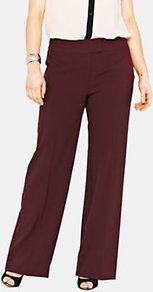 Basic Wide Leg Trousers, Charcoal - length: standard; pattern: plain; waist detail: fitted waist; waist: mid/regular rise; predominant colour: burgundy; occasions: casual, evening, work; fibres: cotton - mix; hip detail: fitted at hip (bottoms); texture group: cotton feel fabrics; fit: wide leg; pattern type: fabric; style: standard