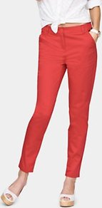 Casual Capri Trousers, Red - pattern: plain; style: capri; waist detail: fitted waist; pocket detail: small back pockets; waist: mid/regular rise; predominant colour: true red; occasions: casual, work, holiday; length: ankle length; fibres: cotton - stretch; texture group: cotton feel fabrics; fit: slim leg; pattern type: fabric