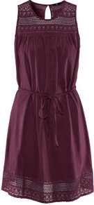 Dress - style: shift; neckline: round neck; fit: fitted at waist; pattern: plain; sleeve style: sleeveless; shoulder detail: contrast pattern/fabric at shoulder; waist detail: belted waist/tie at waist/drawstring; predominant colour: aubergine; occasions: casual, evening; length: just above the knee; fibres: cotton - 100%; bust detail: contrast pattern/fabric/detail at bust; back detail: keyhole/peephole detail at back; sleeve length: sleeveless; texture group: lace; pattern type: fabric; pattern size: small &amp; light
