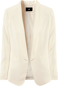 Jacket - pattern: plain; style: single breasted blazer; collar: standard lapel/rever collar; predominant colour: ivory; occasions: casual, evening, work, occasion; length: standard; fit: tailored/fitted; fibres: polyester/polyamide - stretch; sleeve length: long sleeve; sleeve style: standard; texture group: crepes; trends: tuxedo; collar break: low/open; pattern type: fabric; pattern size: standard