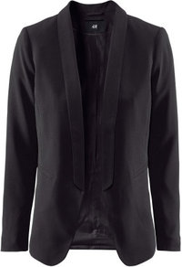 Jacket - pattern: plain; style: single breasted blazer; length: below the bottom; collar: standard lapel/rever collar; predominant colour: black; occasions: evening, work, occasion; fit: tailored/fitted; fibres: polyester/polyamide - stretch; sleeve length: long sleeve; sleeve style: standard; collar break: low/open; pattern type: fabric; pattern size: standard; texture group: woven light midweight