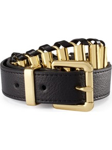Belt - predominant colour: black; occasions: casual, evening, work; type of pattern: light; style: chainlink; size: standard; worn on: hips; material: faux leather; pattern: plain; finish: metallic; embellishment: chain/metal