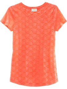 Top - neckline: round neck; style: t-shirt; predominant colour: coral; occasions: casual, work; length: standard; fibres: polyester/polyamide - mix; fit: straight cut; sleeve length: short sleeve; sleeve style: standard; texture group: lace; pattern type: fabric; pattern size: standard; embellishment: embroidered