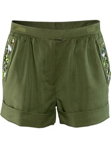 Shorts - style: shorts; waist detail: fitted waist, narrow waistband; pocket detail: pockets at the sides; length: short shorts; waist: mid/regular rise; predominant colour: khaki; occasions: casual, evening, holiday; fibres: polyester/polyamide - 100%; hip detail: added detail/embellishment at hip, front pleats at hip level; jeans & bottoms detail: turn ups; texture group: crepes; trends: metallics; fit: slim leg; pattern type: fabric; pattern size: small & light; embellishment: beading