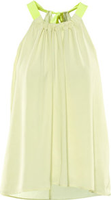 Top - neckline: round neck; pattern: plain, colourblock; sleeve style: sleeveless; back detail: racer back/sports back; bust detail: ruching/gathering/draping/layers/pintuck pleats at bust; predominant colour: primrose yellow; occasions: casual, evening, holiday; length: standard; style: top; fibres: polyester/polyamide - 100%; fit: loose; sleeve length: sleeveless; texture group: sheer fabrics/chiffon/organza etc.; pattern type: fabric; pattern size: standard