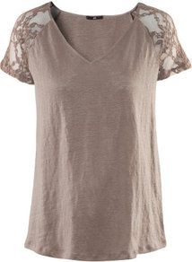 Linen Top - neckline: v-neck; pattern: plain, florals; style: t-shirt; shoulder detail: contrast pattern/fabric at shoulder; predominant colour: taupe; occasions: casual, evening, work; length: standard; fibres: linen - 100%; fit: straight cut; sleeve length: short sleeve; sleeve style: standard; texture group: lace; pattern type: fabric; pattern size: standard