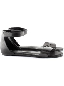 Sandals - predominant colour: black; occasions: casual, work, holiday; material: faux leather; heel height: flat; ankle detail: ankle strap; heel: standard; toe: open toe/peeptoe; style: standard; finish: plain; pattern: plain