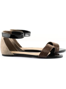 Sandals - predominant colour: chocolate brown; occasions: casual, work, holiday; material: fabric; heel height: flat; ankle detail: ankle strap; heel: standard; toe: open toe/peeptoe; style: standard; finish: plain; pattern: animal print, plain, colourblock