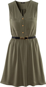 Dress - length: mid thigh; neckline: v-neck; fit: fitted at waist; pattern: plain; sleeve style: sleeveless; bust detail: pocket detail at bust, buttons at bust (in middle at breastbone)/zip detail at bust; waist detail: twist front waist detail/nipped in at waist on one side/soft pleats/draping/ruching/gathering waist detail, belted waist/tie at waist/drawstring; predominant colour: khaki; occasions: casual, evening; style: fit & flare; fibres: polyester/polyamide - 100%; sleeve length: sleeveless; trends: volume; pattern type: fabric; texture group: other - light to midweight