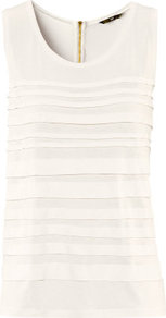 Top - pattern: plain; sleeve style: sleeveless; bust detail: ruching/gathering/draping/layers/pintuck pleats at bust, tiers/frills/bulky drapes/pleats; predominant colour: ivory; occasions: casual, evening, work; length: standard; style: top; neckline: scoop; fibres: polyester/polyamide - 100%; fit: straight cut; sleeve length: sleeveless; pattern type: fabric; pattern size: standard; texture group: jersey - stretchy/drapey