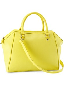 Bag - predominant colour: primrose yellow; occasions: casual, work; type of pattern: standard; style: tote; length: handle; size: standard; material: faux leather; pattern: plain; trends: fluorescent; finish: plain
