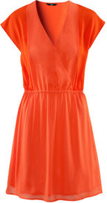 Dress - style: faux wrap/wrap; length: mid thigh; neckline: low v-neck; sleeve style: dolman/batwing; fit: fitted at waist; pattern: plain; waist detail: elasticated waist, twist front waist detail/nipped in at waist on one side/soft pleats/draping/ruching/gathering waist detail; predominant colour: bright orange; occasions: casual, evening, holiday; fibres: polyester/polyamide - 100%; sleeve length: short sleeve; texture group: sheer fabrics/chiffon/organza etc.; trends: fluorescent; pattern type: fabric; pattern size: standard