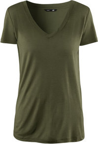 Top - neckline: low v-neck; pattern: plain; style: t-shirt; predominant colour: khaki; occasions: casual; length: standard; fibres: polyester/polyamide - 100%; fit: body skimming; sleeve length: short sleeve; sleeve style: standard; pattern type: fabric; pattern size: standard; texture group: jersey - stretchy/drapey
