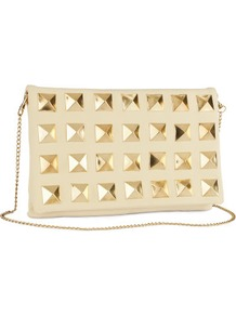 Clutch - predominant colour: ivory; occasions: evening, occasion; type of pattern: standard; style: clutch; length: hand carry; size: standard; material: faux leather; embellishment: studs, chain/metal; pattern: plain; finish: plain