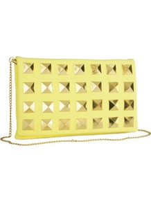 Clutch - predominant colour: primrose yellow; occasions: evening, occasion; style: clutch; length: hand carry; size: standard; material: faux leather; embellishment: studs, chain/metal; pattern: plain; trends: metallics; finish: plain