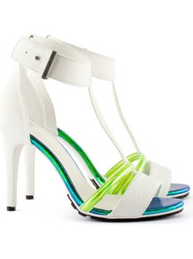 Sandals - predominant colour: white; occasions: casual, evening, holiday; material: fabric; heel height: high; embellishment: buckles; ankle detail: ankle strap; heel: stiletto; toe: open toe/peeptoe; style: strappy; trends: sporty redux; finish: plain; pattern: plain, colourblock