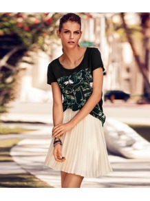 Skirt - pattern: plain; fit: loose/voluminous; style: pleated; waist detail: fitted waist; waist: mid/regular rise; predominant colour: ivory; occasions: casual, evening; length: just above the knee; fibres: polyester/polyamide - 100%; hip detail: structured pleats at hip; texture group: structured shiny - satin/tafetta/silk etc.; trends: volume; pattern type: fabric; pattern size: standard