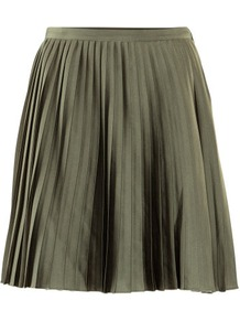 Skirt - pattern: plain; fit: loose/voluminous; style: pleated; waist detail: fitted waist; waist: mid/regular rise; predominant colour: khaki; occasions: casual, evening; length: just above the knee; fibres: polyester/polyamide - 100%; hip detail: structured pleats at hip, soft pleats at hip/draping at hip/flared at hip; texture group: structured shiny - satin/tafetta/silk etc.; trends: volume; pattern type: fabric; pattern size: standard