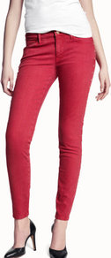 Skinny Low Jeans - style: skinny leg; pattern: plain; pocket detail: traditional 5 pocket; waist: mid/regular rise; predominant colour: true red; occasions: casual, evening; length: ankle length; fibres: cotton - mix; texture group: denim; pattern type: fabric; pattern size: standard