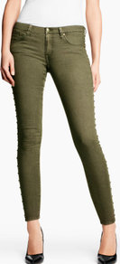 Skinny Low Jeans - style: skinny leg; pattern: plain; pocket detail: traditional 5 pocket; waist: mid/regular rise; predominant colour: khaki; occasions: casual, evening; length: ankle length; fibres: cotton - mix; texture group: denim; pattern type: fabric; pattern size: standard