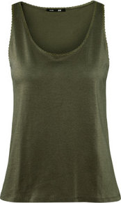 Top - pattern: plain; sleeve style: sleeveless; style: vest top; predominant colour: khaki; occasions: casual, holiday; length: standard; neckline: scoop; fibres: cotton - 100%; fit: body skimming; sleeve length: sleeveless; pattern type: fabric; texture group: jersey - stretchy/drapey