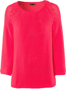 Jumper - neckline: round neck; pattern: plain; style: standard; predominant colour: hot pink; occasions: casual; length: standard; fibres: acrylic - 100%; fit: loose; sleeve length: 3/4 length; sleeve style: standard; texture group: knits/crochet; trends: fluorescent; pattern type: knitted - other; pattern size: standard